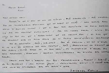 Reproducció de la carta manuscrita enviada per Esrpiu a Xavier Amorós