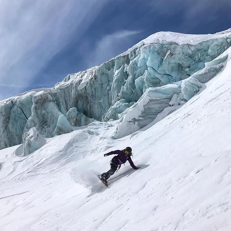 Núria Castán, en un descens a Chamonix