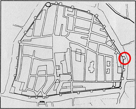 Plànol de la muralla medieval de Reus. Encerclada en vermell, la zona localitzada.