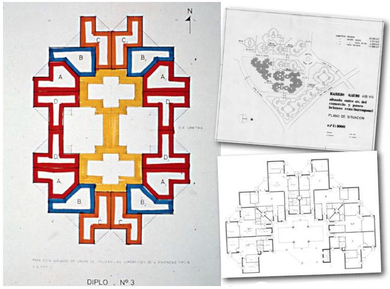 Plànols del barri, procedents de l'estudi d'arquitectura de Ricardo Bofill