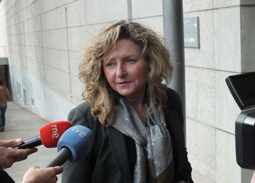 L'exregidora Teresa Pallàres, a l'arribar als Jutjats aquesta tarda.