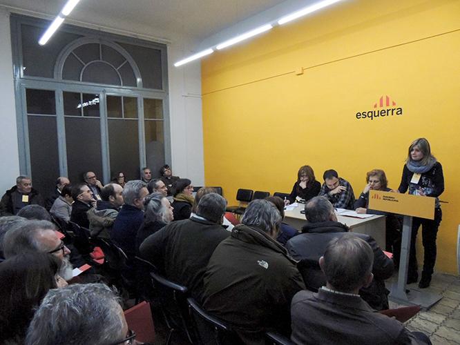 Imatge de l'assemblea del partit en el moment de la intervenció de Noemí Llauradó (Foto: Cedida per ERC)