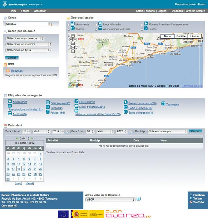 Pàgina d'inici del portal M@RC (www.diputaciodetarragona.cat/marc)