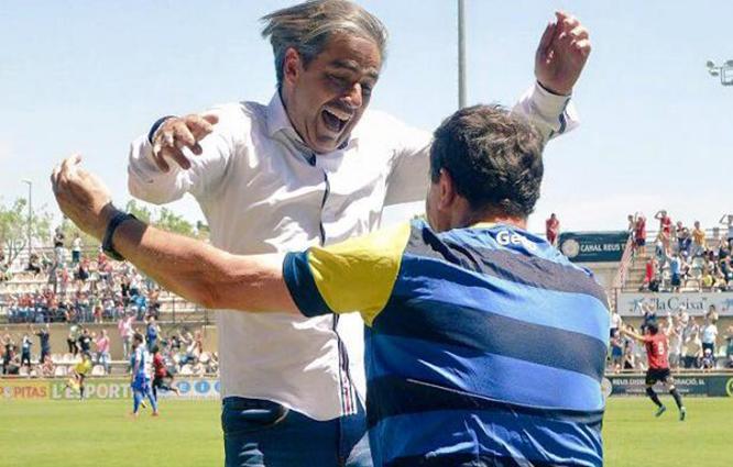Natxo González, l'entrenador, eufòric després del partit d'avui (Foto: CF Reus Deportiu)