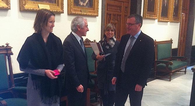 Una imatge de la visita del President de Metrovacesa, Vitalino Nanfría, a l'Ajuntament de Reus el passat 9 de febrer.