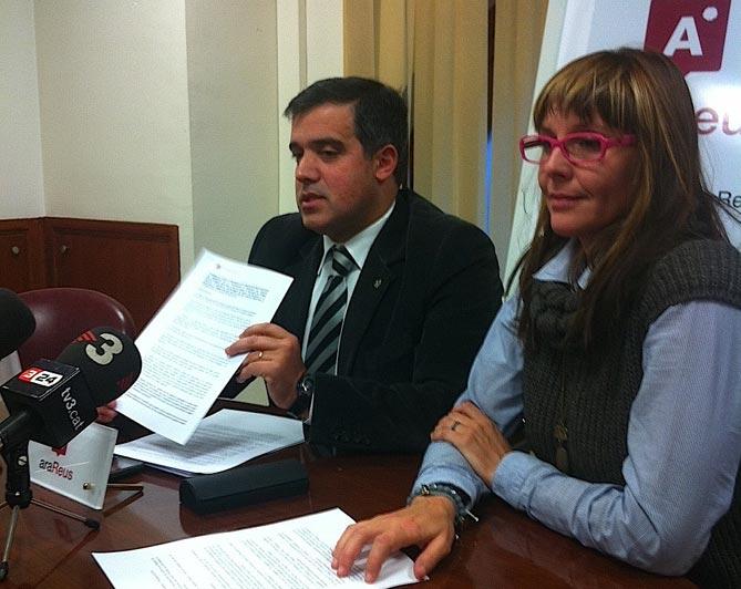 Jordi Cervera i Misericòrdia Fargas, durant la roda de premsa