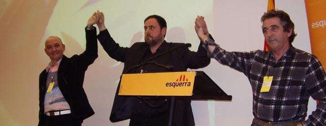 El President dEsquerra, Oriol Junqueras, acompanyat per Josep Andreu -dreta- i Jordi Cartanyà -esquerra-./ERC