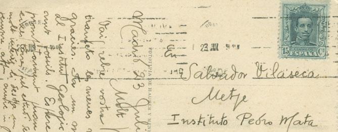 Una de les postals donades per la família de Salvador Vilaseca a la ciutat de Reus