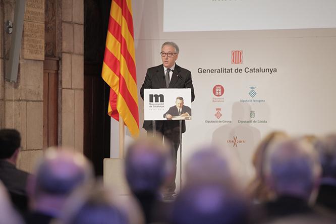 Josep Poblet, en uan de les seves darreres intervencions públiques, en l'acte commemoratiu del centenari de la Mancomunitat de Catalunya.